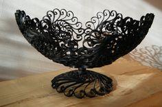 black wrought iron fruit bowl