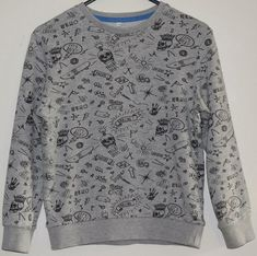 8f664d48 M&S Boys Grey Mix Crew Neck Long Sleeve Urban Print Sweatshirt Top Age 7-8  Years
