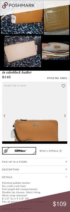 Nwt coach colorblock  double zip wristlet#54051 Coach Double Zip Pebble leather wallet  in Saddle/ Chalk Currently sells for $145 @ Coach retail store. Coach Bags Clutches & Wristlets