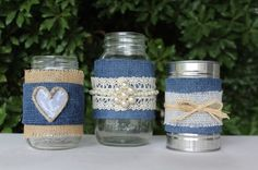 Rustic denim decorated jars and tins for a rustic wedding or event on www.iloverusticstuff.webs.com