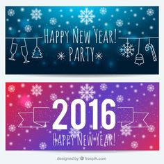 Happy new year with snowflakes banners Free Vector
