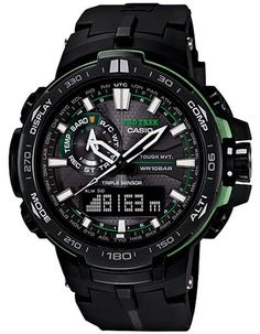 Casio ProTrek Mens Solar Atomic Triple Sensor - Black Dial - Carbon Insert Band