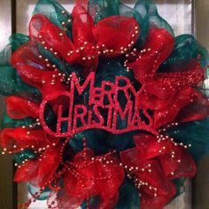 Red, green and gold deco mesh Christmas wreath!