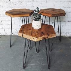Industrial Reclaimed Wood Hexagon Side