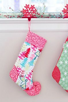 Personalized Elf Christmas Stocking Pink Aqua Trees by Love By Hand on Etsy