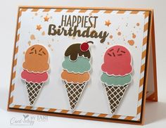 Cool Treats Step It Up! Birthday by Jari - Cards and Paper Crafts at Splitcoaststampers Kids Birthday Cards, Handmade Birthday Cards, Greeting Cards Handmade, Birthday Wishes, Stamping Up Cards, Creative Cards, Cool Cards, Kids Cards, Patch
