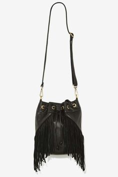 Cassidy Fringe Leather Bucket Bag - Festival Shop