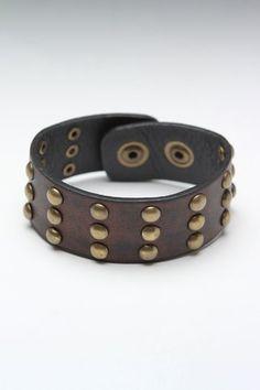 Amigaz Nailhead Studded Leather Bracelet Black  $9.99