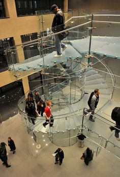 stairway in sydney apple store metallic walls clear steps and