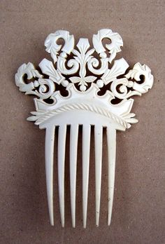 Ornate French ivory hair comb with cut work