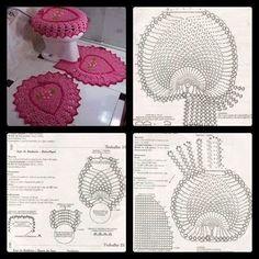 Helen's artes em Crochê: Jogo de banheiro coraçao