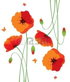 Illustration of Red poppies back vector art, clipart and stock vectors. Poppy Drawing, Shell Drawing, Flower Art, Art Flowers, Red Poppies, Fabric Art, Vector Art, Clip Art, Drawings