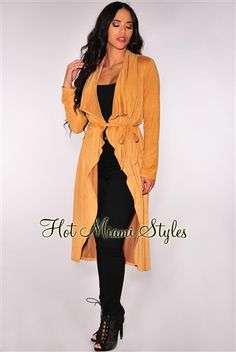 Cinnamon Faux Suede Belted Long Cardigan Womens clothing clothes hot miami styles hotmiamistyles hotmiamistyles.com sexy club wear evening  clubwear cocktail party kim kardashian dresses