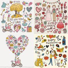 Cartoon Valentine's day cards vector - digital clip art - INSTANT DOWNLOAD
