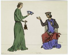 [Man handing hat and purse to seated woman, France, 13th century.]