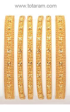 22K Gold Bangles - 6 bangles (3 pairs) Set
