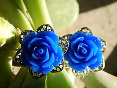 Large blue rose flower studs on silver tone by TheSnowglobeRing, $5.89
