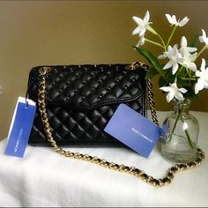"""Rebecca Minkoff Quilted Mini Affair with Studs Rebecca Minkoff Quilted Mini Affair with Studs   8.5""""L x 2""""W x 6""""H; 12"""" strap drop Gold hardware  Adjustable strap. Double shoulder straps convert to crossbody strap Snap closure; lined Interior slip pocket  Perfect for a casual day or a night out! Rebecca Minkoff Bags Crossbody Bags"""