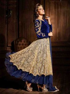 Share to get 5% OFF on your order Blue Viscose,Net Embroidery Anarkali Suit Semi Stitched Max-42 #FleAffair