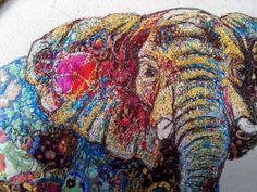 My Owl Barn: Sophie Standing: Textile Embroidery Art - Stitching Projects Embroidery Art, Embroidery Stitches, Machine Embroidery, Embroidery Designs, Elephant Quilt, Elephant Art, Elephant Parade, Textile Fiber Art, Textile Artists