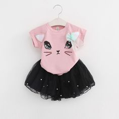 Menoea Summer Baby Girls Clothing Sets Fashion Style Cartoon Kitten Printed T-Shirts+Net Veil Dress Girls Clothes Like if you remember Visit us Cat Dresses, Baby Girl Dresses, Baby Dress, Pink Dress, Baby Outfits, Kids Outfits Girls, Fashion Kids, Fall Fashion, Style Fashion
