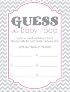 8 x 11 Digital File that is ready to print. 4 cards per sheet. Cards for Gue. - - 8 x 11 Digital File that is ready to print. 4 cards per sheet. Cards for Guess the Baby Food Game for a Baby Shower! Fiesta Baby Shower, Grey Baby Shower, Baby Shower Fun, Baby Shower Parties, Baby Boy Shower, Games For Baby Shower, Baby Party, Shower Party, Baby Shower Games