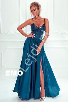 57d4232efc Długa suknia wieczorowa z koronkową górą i satynowym dołem. Sukienka na  studniówkę
