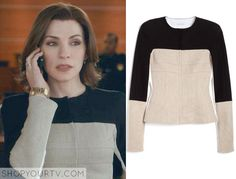 Alicia Florrick (Julianna Margulies) wears this beige white and black jacket in this week's episode of The Good Wife. It is the NARCISO RODRIGUEZ Black Linen Flax Jacket. Sold Out