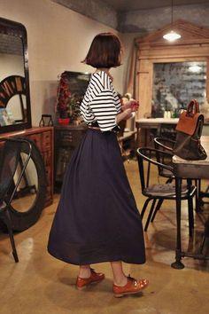 striped tee + long navy skirt + caramel oxfords