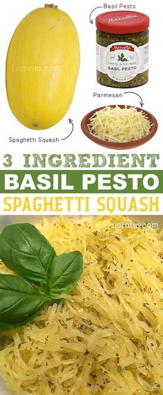 3-Ingredient Basil Pesto Spaghetti Squash Recipe -- how to bake it in the oven. Super easy! Much healthier than pasta.