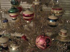 New tinsel tree, vintage Shiny Brite ornaments