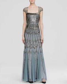 Adrianna Papell Cap Sleeve Beaded Gown - Slate