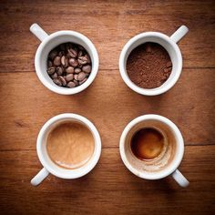 Four stages of Coffee....beans, grind, beverage, stained cup