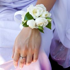 Gardenia wrist corsage for prom...pretty and smells wonderful!