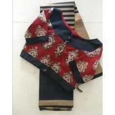 Glossy cotton silk saree with ready to wear kalamkari blouse