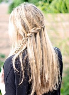"""Partial French Braid & Cascading Hair Tutorial also known as the """"Waterfall Braid"""".wish my hair could do this Pretty Hairstyles, Braided Hairstyles, School Hairstyles, Prom Hairstyles, Style Hairstyle, Updo Hairstyle, Braided Updo, French Hairstyles, Bridesmaids Hairstyles"""