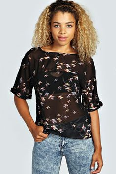 Fallon Split Back Sheer Woven Blouse at boohoo.com