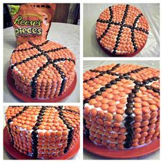 How to make a basketball cake using Reese's Pieces - so smart!