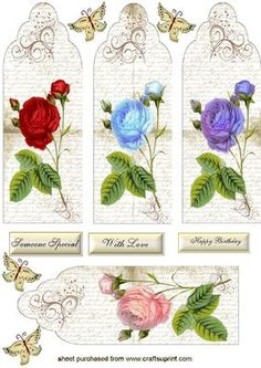 Pretty Roses and Flourishes on script paper Bookmarks Toppers on Craftsuprint - Add To Basket!
