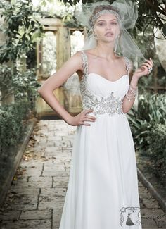 Jeanette Chiffon Sheath bridal gowns and designer wedding dresses Maggie Sottero Wedding Dresses, Wedding Dress Chiffon, Cheap Wedding Dress, Wedding Dress Styles, Designer Wedding Dresses, Wedding Gowns, Unconventional Wedding Dress, Bridal Dresses Online, Bride Gowns