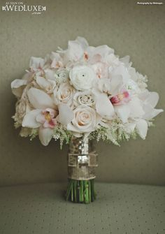 WedLuxe: cream and blush #bouquet with gold sequin wrap