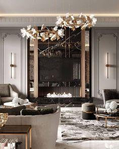 Modern Luxury Bedroom, Luxurious Bedrooms, Modern Interiors, Interior Design Living Room, Living Room Designs, Home Room Design, House Design, Neoclassical Interior Design, Modern Classic Interior
