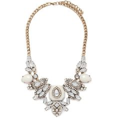 Forever 21 Rhinestone Statement Necklace ($20) ❤ liked on Polyvore featuring jewelry, necklaces, rhinestone statement necklace, bib statement necklace, forever 21, statement necklaces and forever 21 jewelry