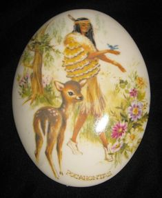 Vintage POCAHONTAS Ceramic Oval Wall Hanging Art Plaque • Rainbow Products Japan