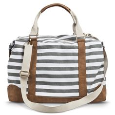 Women's Striped Weekender Handbag - Gray : Target