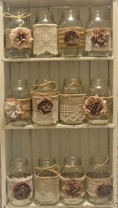 12 Mason Jar Wedding Centerpieces Rustic Wedding Burlap