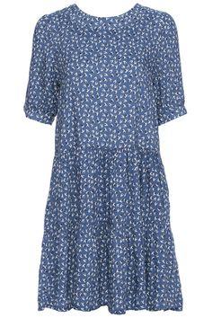 ROMWE | ROMWE Swallow Print Short-sleeved Light Blue Dress, The Latest Street Fashion