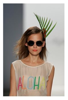 Mara Hoffman spring/summer 2013 palm tree hair piece