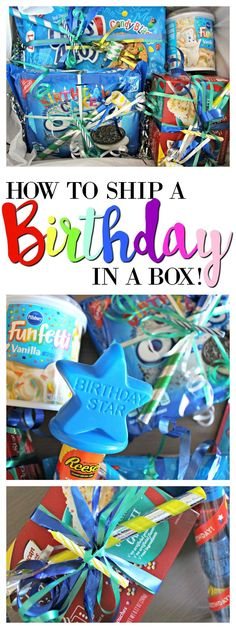 a Box! How to Send a Birthday in a Box! Perfect for a Long Distance Friend or College Care Package!How to Send a Birthday in a Box! Perfect for a Long Distance Friend or College Care Package! Birthday Surprise Boyfriend, Birthday Gifts For Boys, Birthday Box, Birthday Crafts, Birthday Ideas, Birthday Decorations, Birthday Nails, Birthday Recipes, Husband Birthday