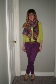 Spring Colour Blocking ~ Purple Jeans, Neon Yellow Top & Patterned Scarf  http://sextoninthecity.ca/spring-colour-blocking/